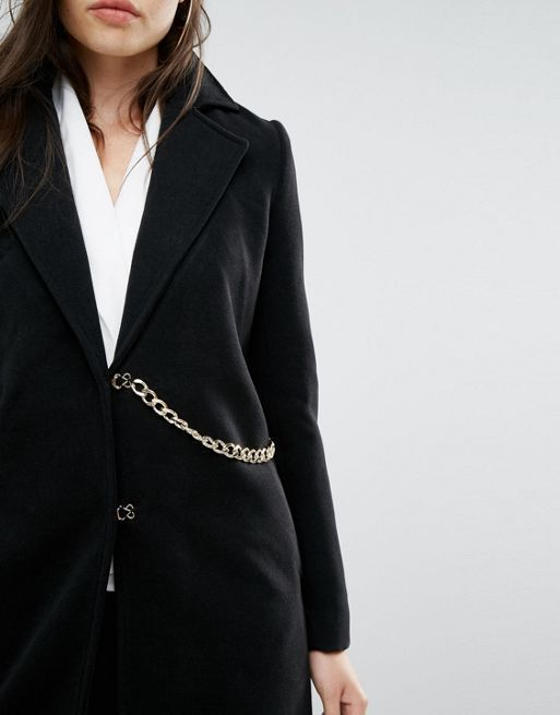 ☆Missguided Chain Detail Faux Wool Coat Black☆