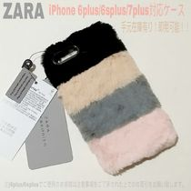 ストライプ【送込ZARA】iphone 6plus/6splus/7plus★Fakeファー