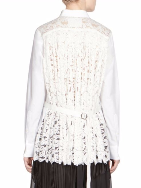 SACAI ★Button-Front Lace Shirt★バックコンシャス