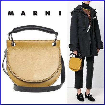 送料・税込★MARNI★Pebble Leather&Suede CrossBoday バッグ