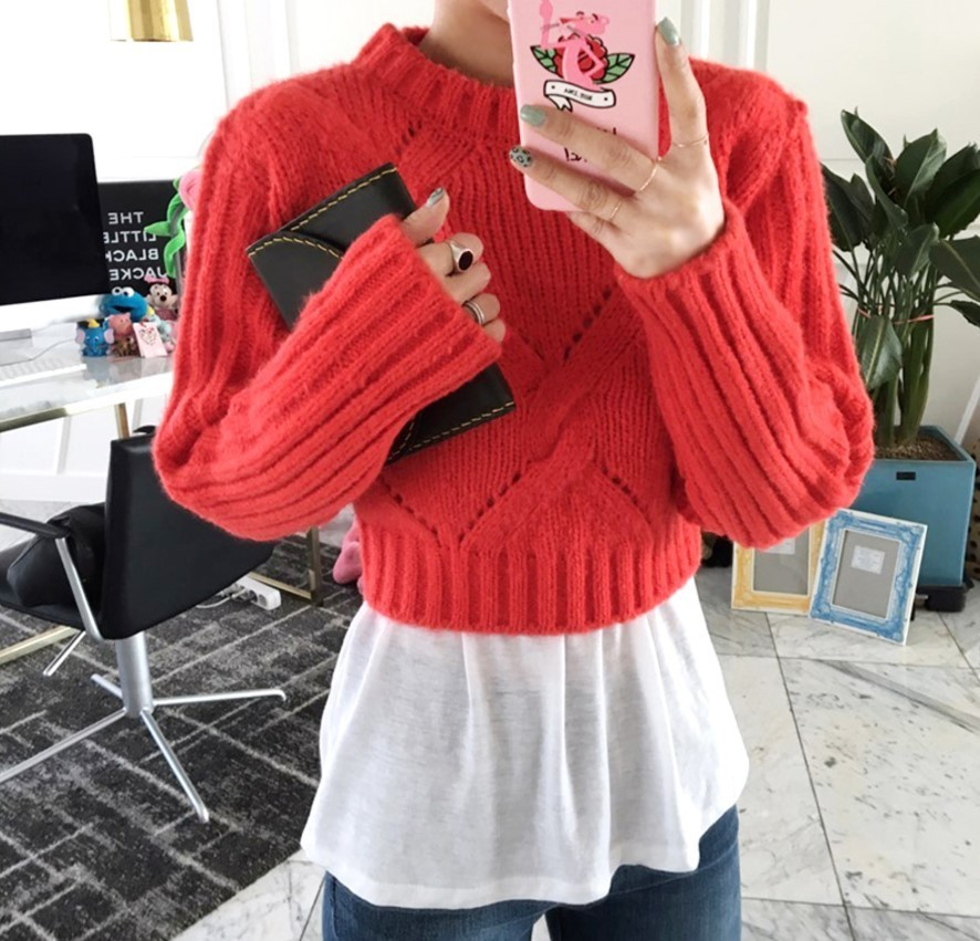 Short Wool Mohair Twist Knit Sweater
