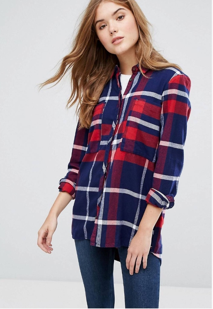 国発[関税・送料込]Tommy Hilfiger Denim Check Tunic Shirt