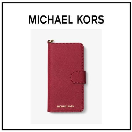 Michael Kors iphone 7 / 8 case レザー Burnt Red 赤 送料込