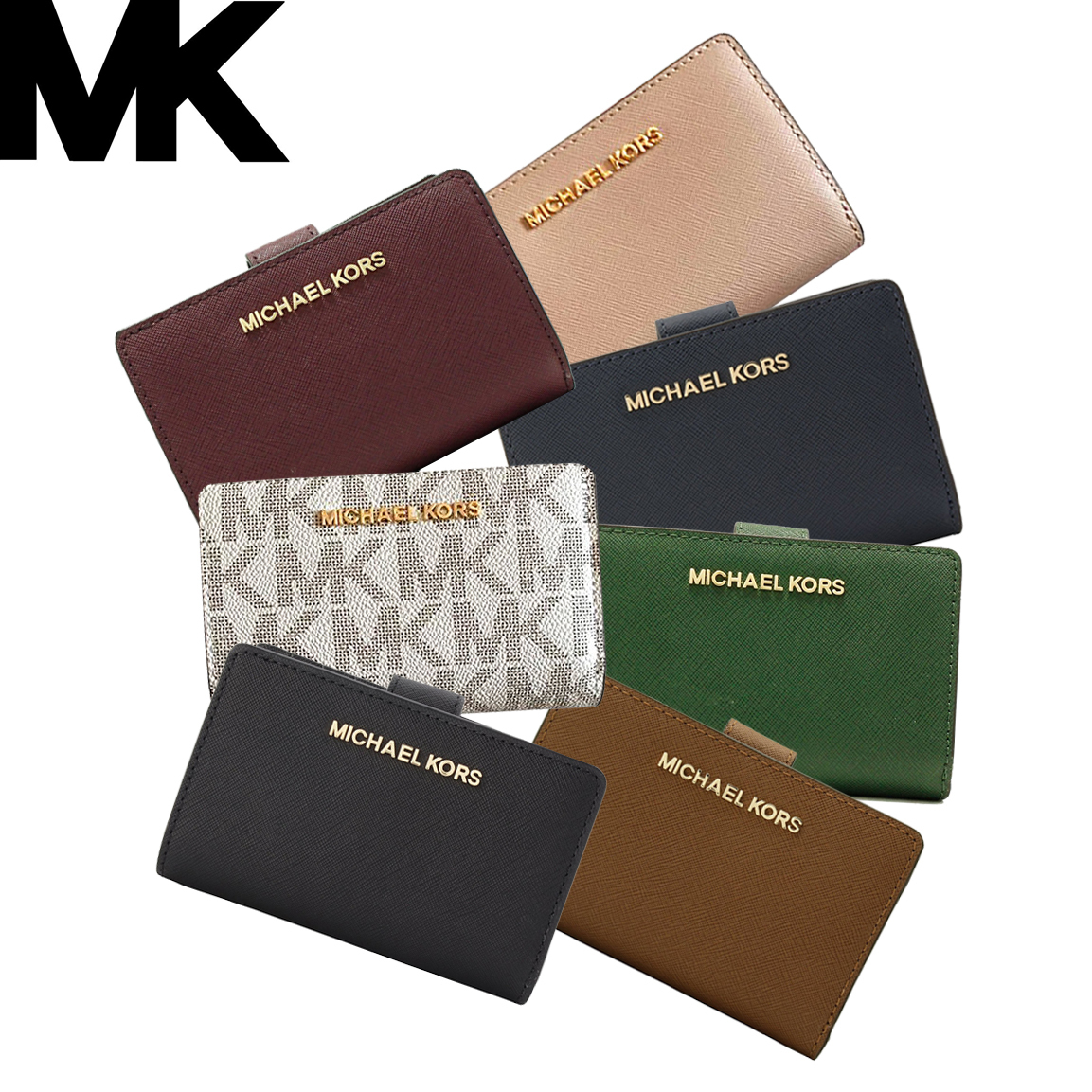 b58d0f4a5d32 Details about NWT MICHAEL Michael Kors Jet Set Bifold Zip Coin Wallet  35F7GTVF2L/35F7GTVF2B