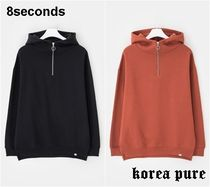 【8 SECONDS】Oversize Half Zip-up Napped Hood Pullover