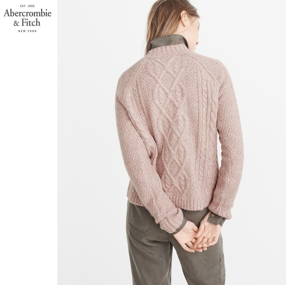 ★送料込★A&F★AIRSPUN MOCK NECK CABLE SWEATER★