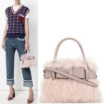 MM384 FUR & MADRAS FIOCCO SMALL HANDBAG