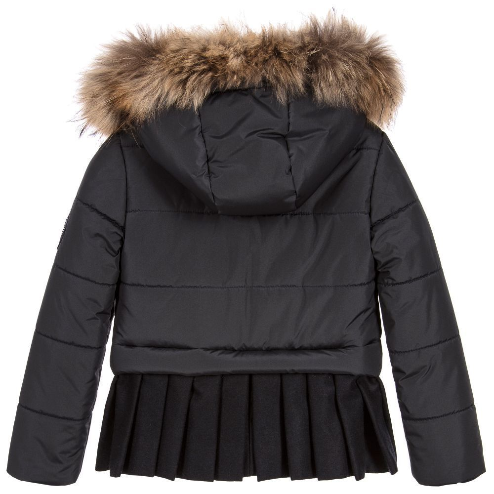 現地SALE価格!! LAPIN HOUSE★Black Puffer & Fur コート★4-14Y
