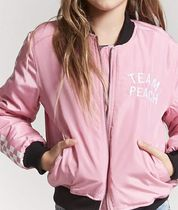 Girls Team Peach Graphic Bomber Jacket (Kids)