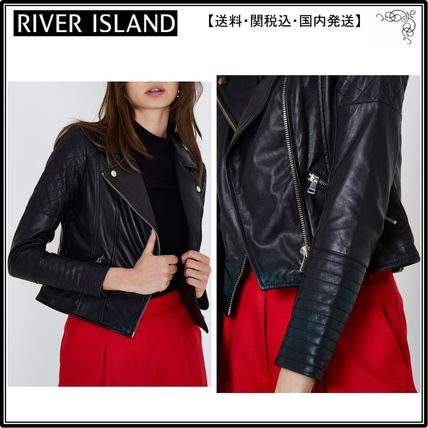 【海外限定】River Island ジャケット☆Black leather quilted b