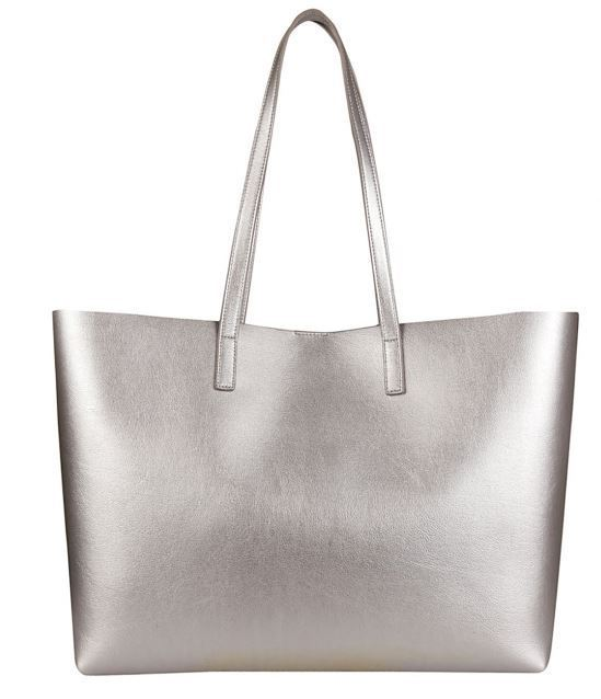 SAINT LAURENT Silver Classic Shopping Tote