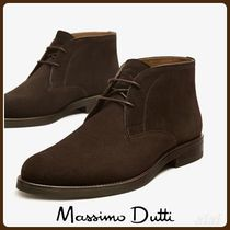 MassimoDutti♪BLUE SPLIT SUEDE LEATHER ANKLE BOOTS