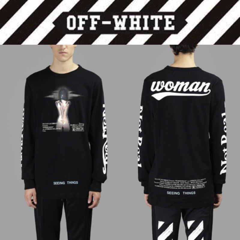 人気!OFF WHITE☆MEN'S BLACK WOMAN MOVIE PRINTED TEE