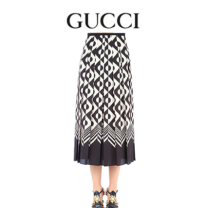 GUCCI Printed silk skirt 409370ZHP98M_1760 【関税送料込】