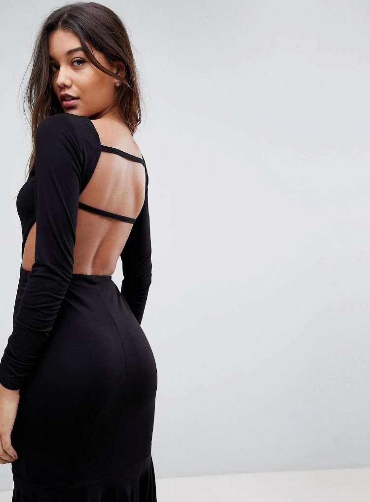 国発[関税・送込]ASOS Open Back Pep Hem Midi Bodycon Dress