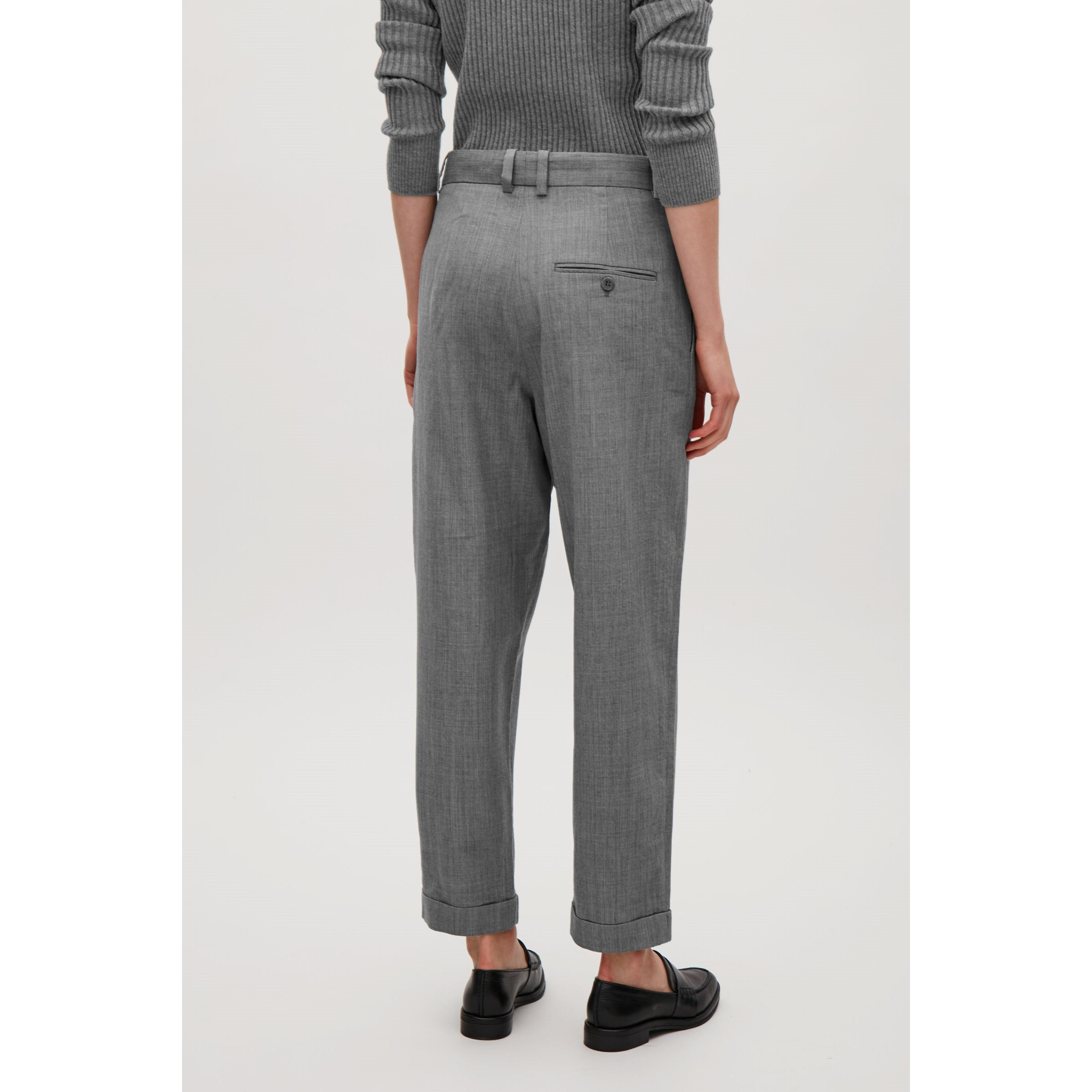COS☆WOOL TROUSERS WITH TURN-UPS / grey