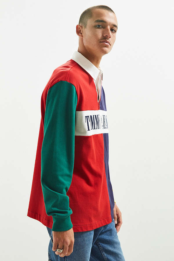 送料込★海外限定★Tommy Hilfiger Colorblocked Rugby Shirt