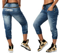新作♪Zumbaズンバ La Pachanga Zippered Denim Pants-Denim