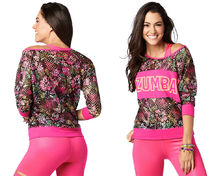 新作♪ZumbaズンバLa Pachanga Mesh Top-Shocking Pink