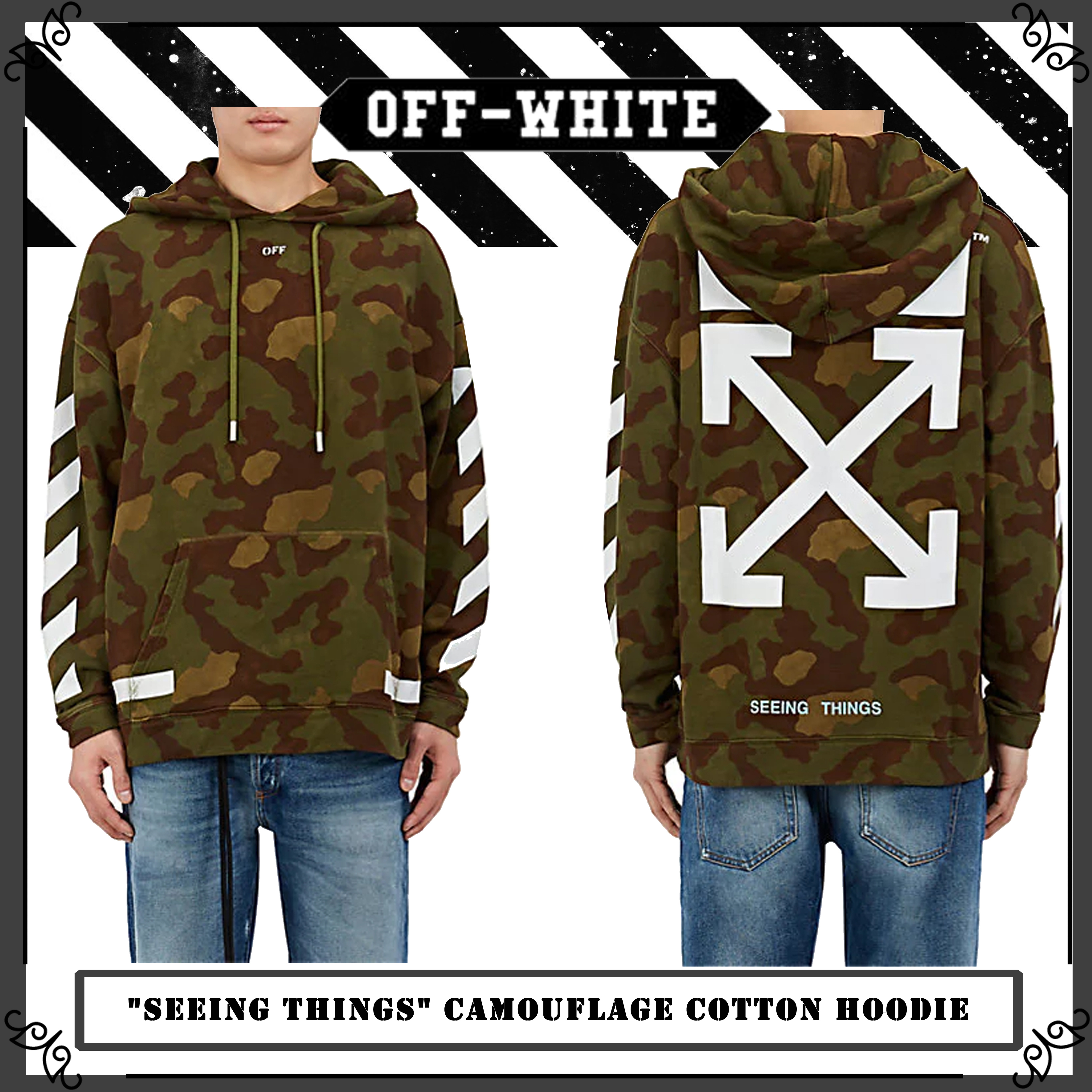 "Off-White★""Seeing Things"" カモフラージュコットンパーカー"