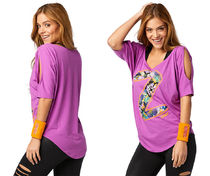 新作♪ZumbaズンバZumba Party Cold Shoulder Top-Purple Power