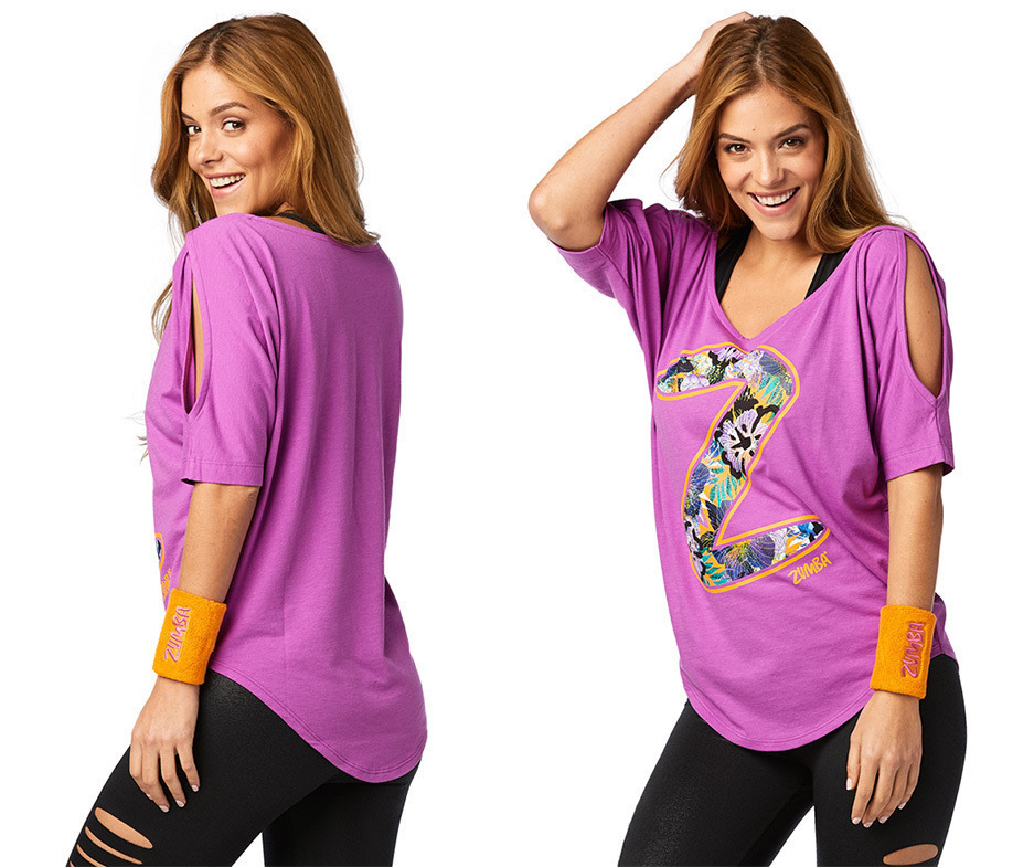◆10月新作◆Zumba Party Cold Shoulder Top -Purple Power