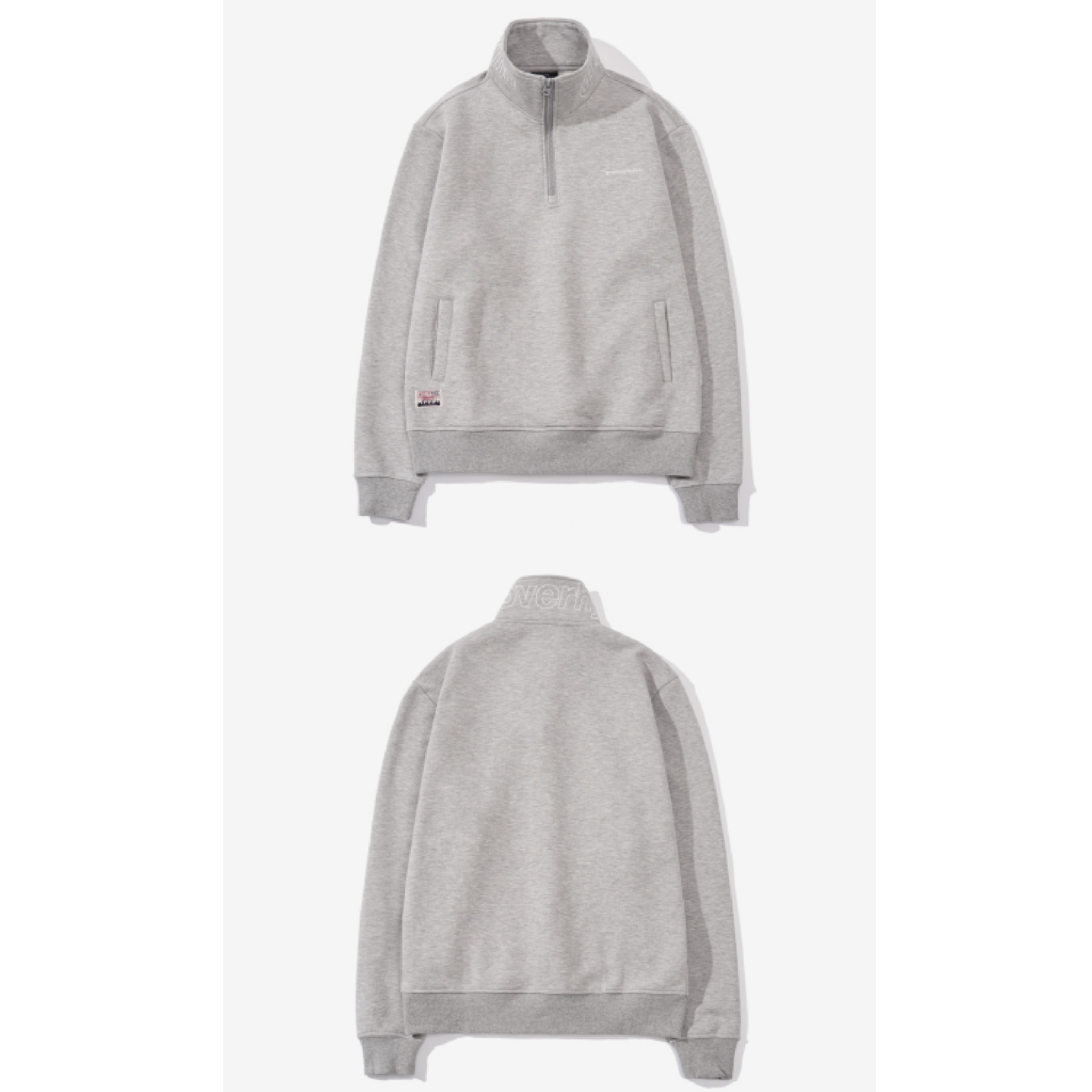 新作★GROOVE RHYME★NECK BLOCK HALF ZIP-UP (M/GREY)追跡配送