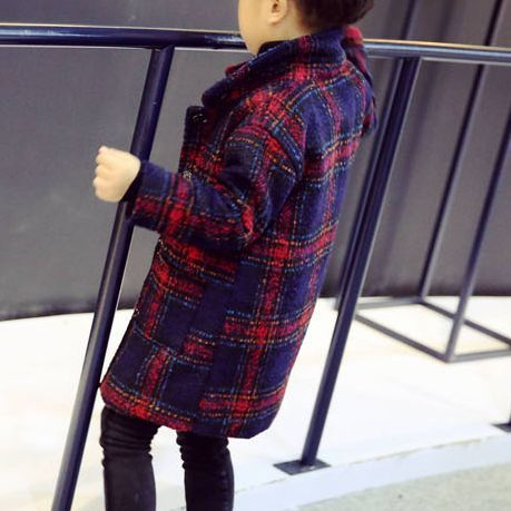 17aw♦2色 キッズ 韓国 チェックコート ボーイズ