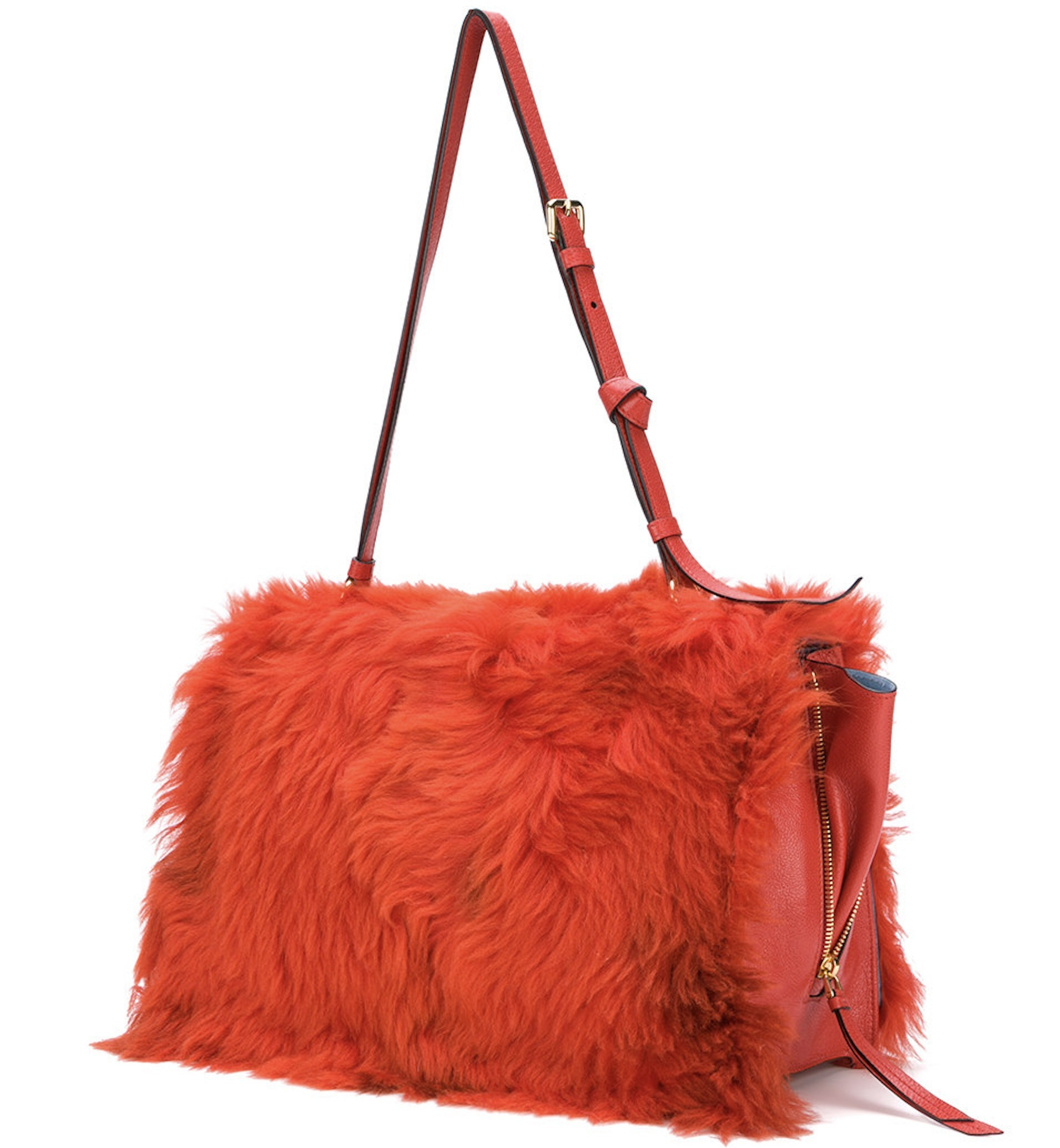 PR812 LOOK25 FUR & LEATHER ETIQUETTE SHOULDER BAG