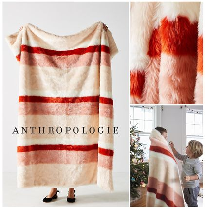 ANTHROPOLOGIE☆Striped Faux Fur Throw Blanket☆税関送料込み