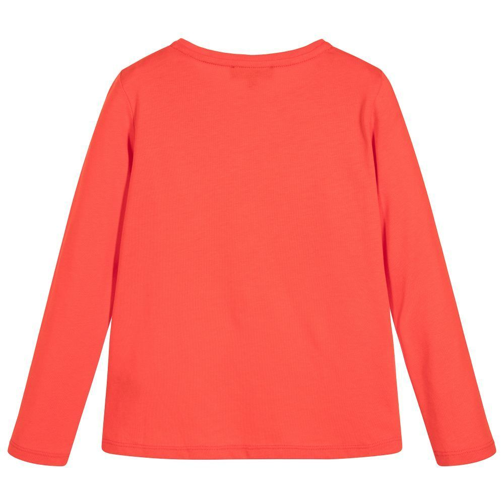 〜170大人もOK/Girls Red Logo Top(Long Sleeve T-shirt)