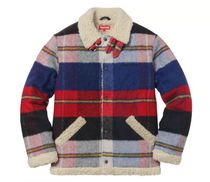 新作☆シュプリーム Supreme Plaid Shearling Bomber Red Plaid