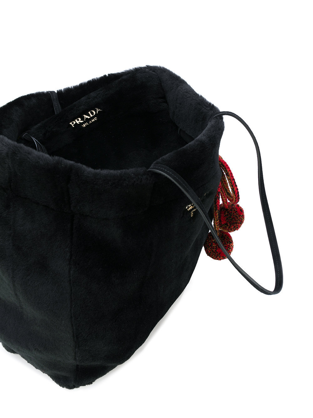 PR819 POM POM EMBELLISHED MOUTON SHOPPING TOTE BAG