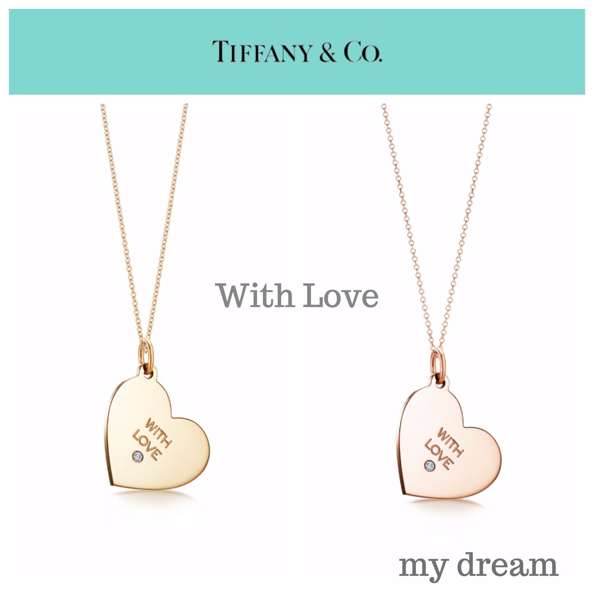 "【Tiffany & Co】""With Love"" Tag Pendant in 18k Gold Diamond"