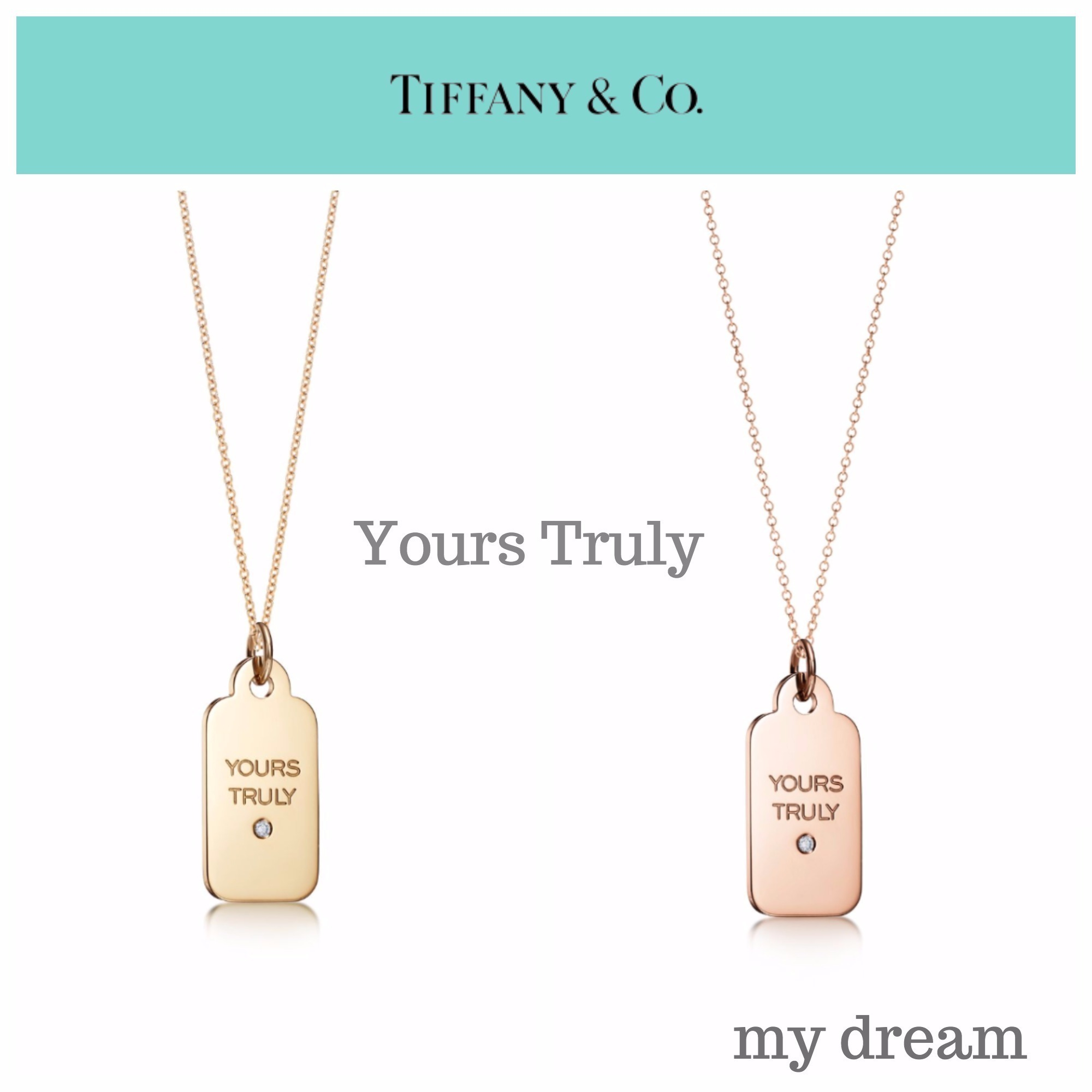 "【Tiffany&Co】""Yours Truly"" Tag Pendant in 18k Gold Diamond"