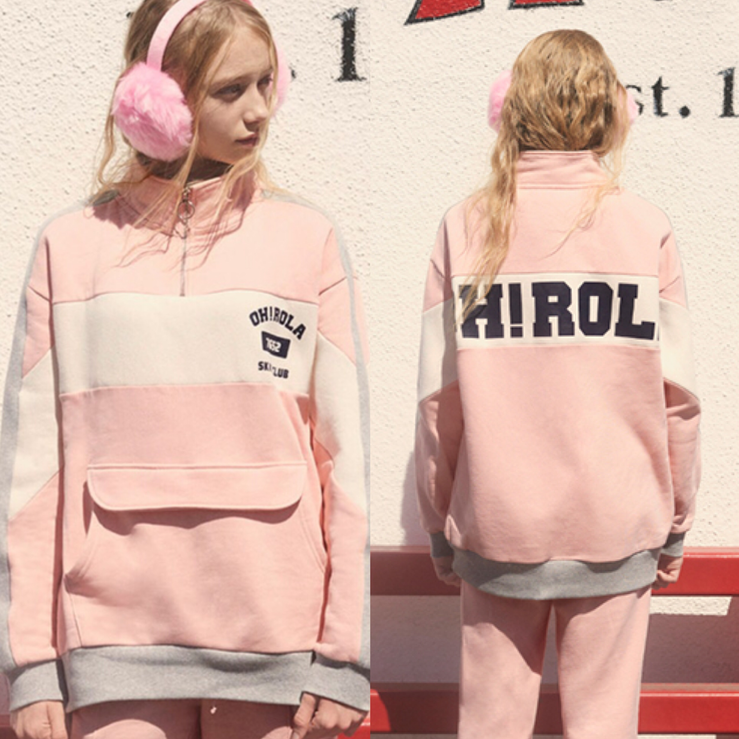 17aw新作★POCKET HALF ZIP UP PINK
