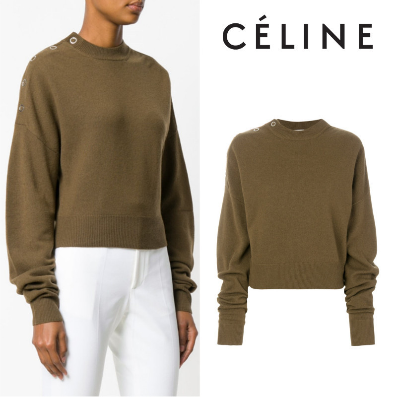 【17AW】大注目!!★CELINE★buttoned neck jumper