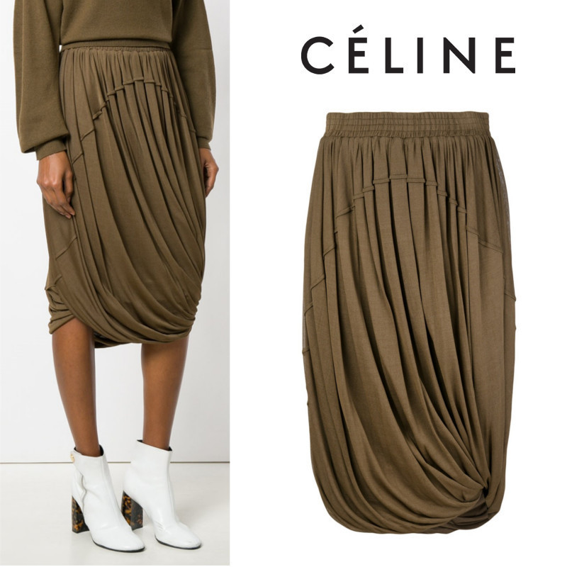 【17AW】大注目!!★CELINE★layered pleated skirt
