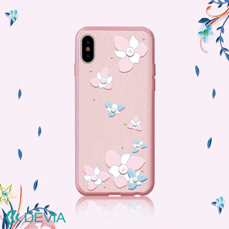 iPhone X 用 フラワーモチーフ 刺繍 /Flower Embroidery case