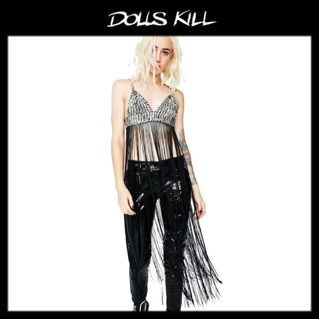 関税/送料込 *DOLLS KILL* PARKLES FRINGE BRA TOP