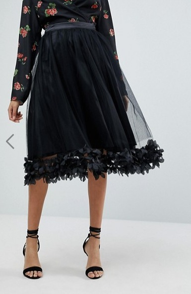 ASOS 【pretty little thing】新作 フローラルチュールスカート