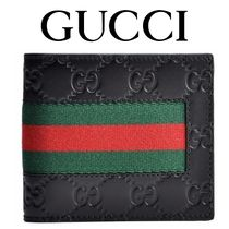 17AW新作 ☆Gucci☆ SIGNATURE WEB 折り財布 BLACK♪
