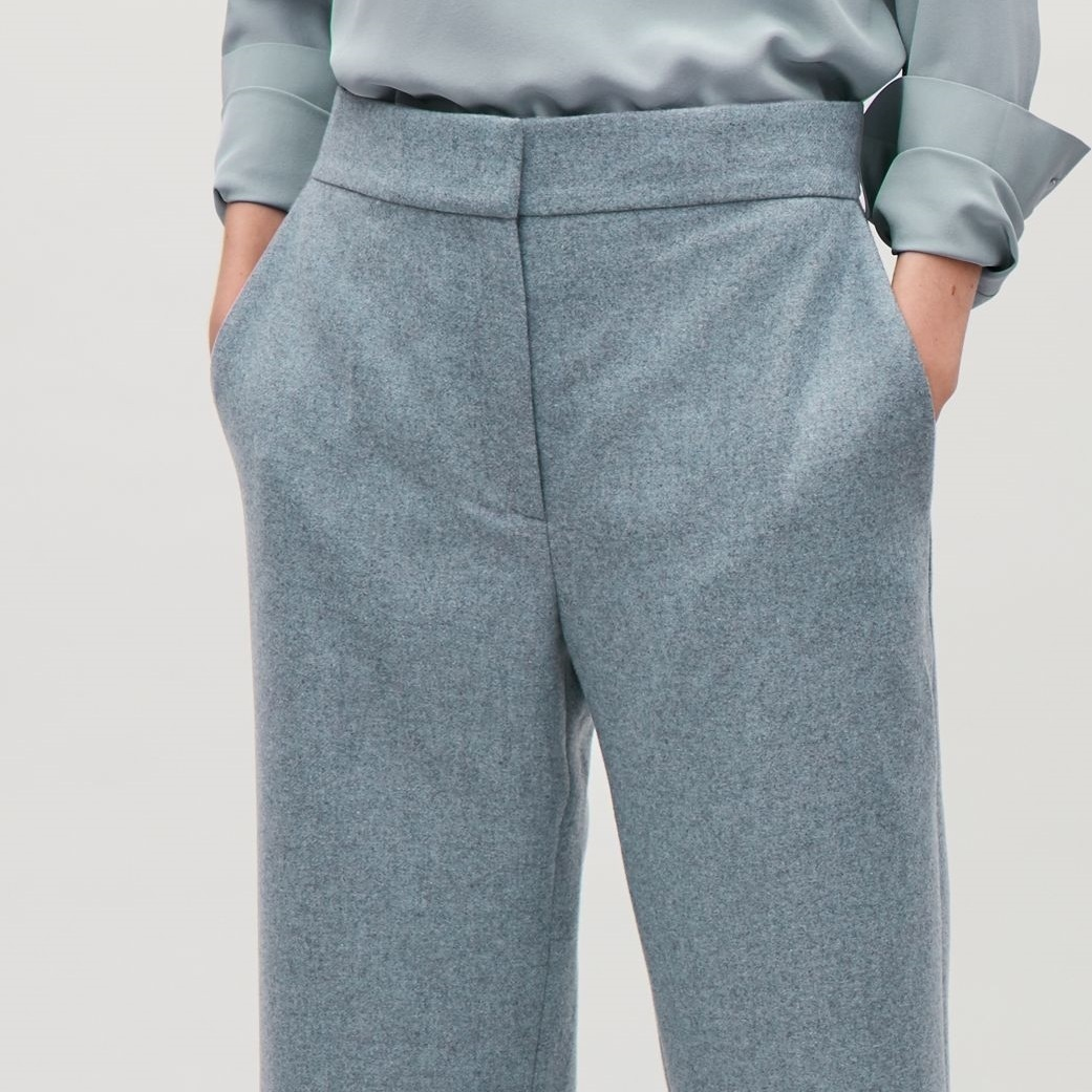 """COS""WOOL-BLEND STRAIGHT-LEG TROUSERS BLUE"