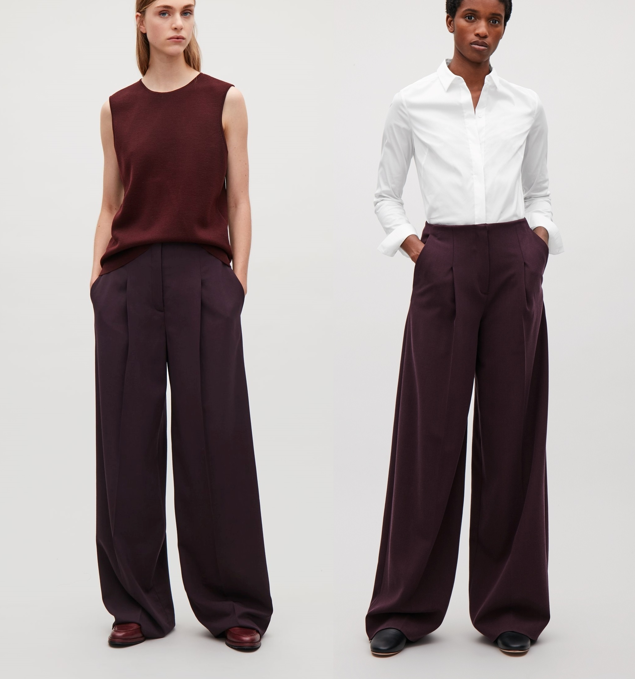 """COS""WIDE-LEG TROUSERS WITH PRESS FOLDS BURGUNDY"