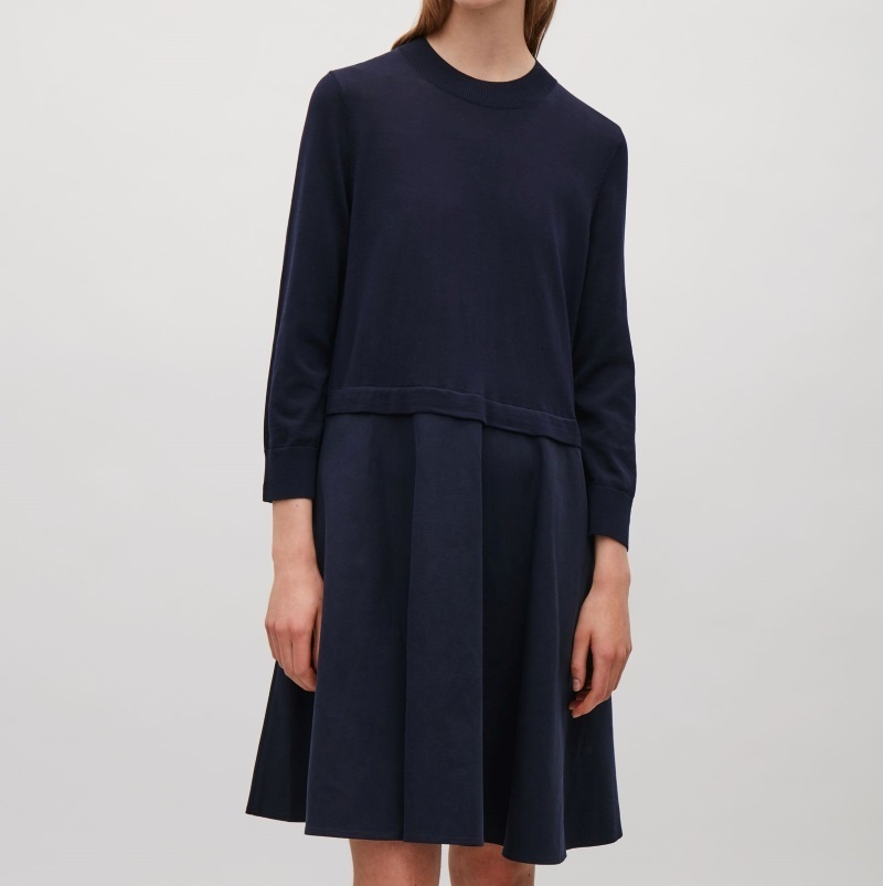 """""""COS""""KNITTED DRESS WITH WOVEN SKIRT RED"""