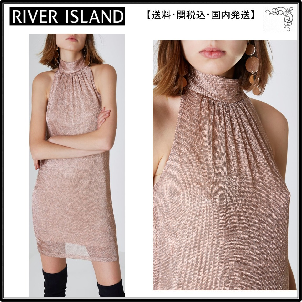 【海外限定】River Island ドレス☆Rose gold halter neck knit