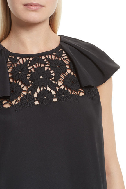 kate spade new york embroidered lace yoke top