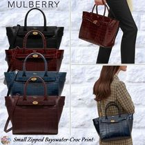 Mulberry☆Small Zipped Bayswater-Croc Print-