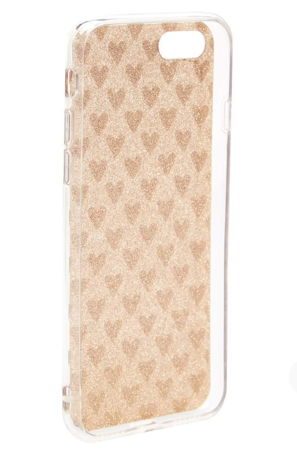 Transparent Glitter Heart iPhone 6/6s/7 Case