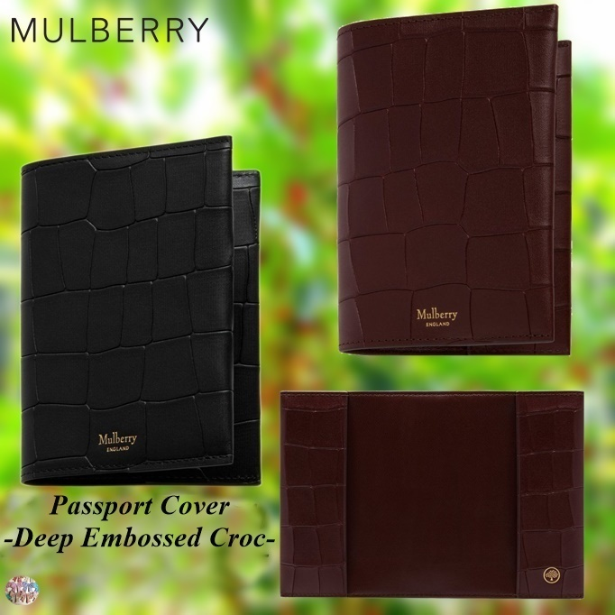 Mulberry(マルベリー)☆Passport Cover-Deep Embossed Croc-
